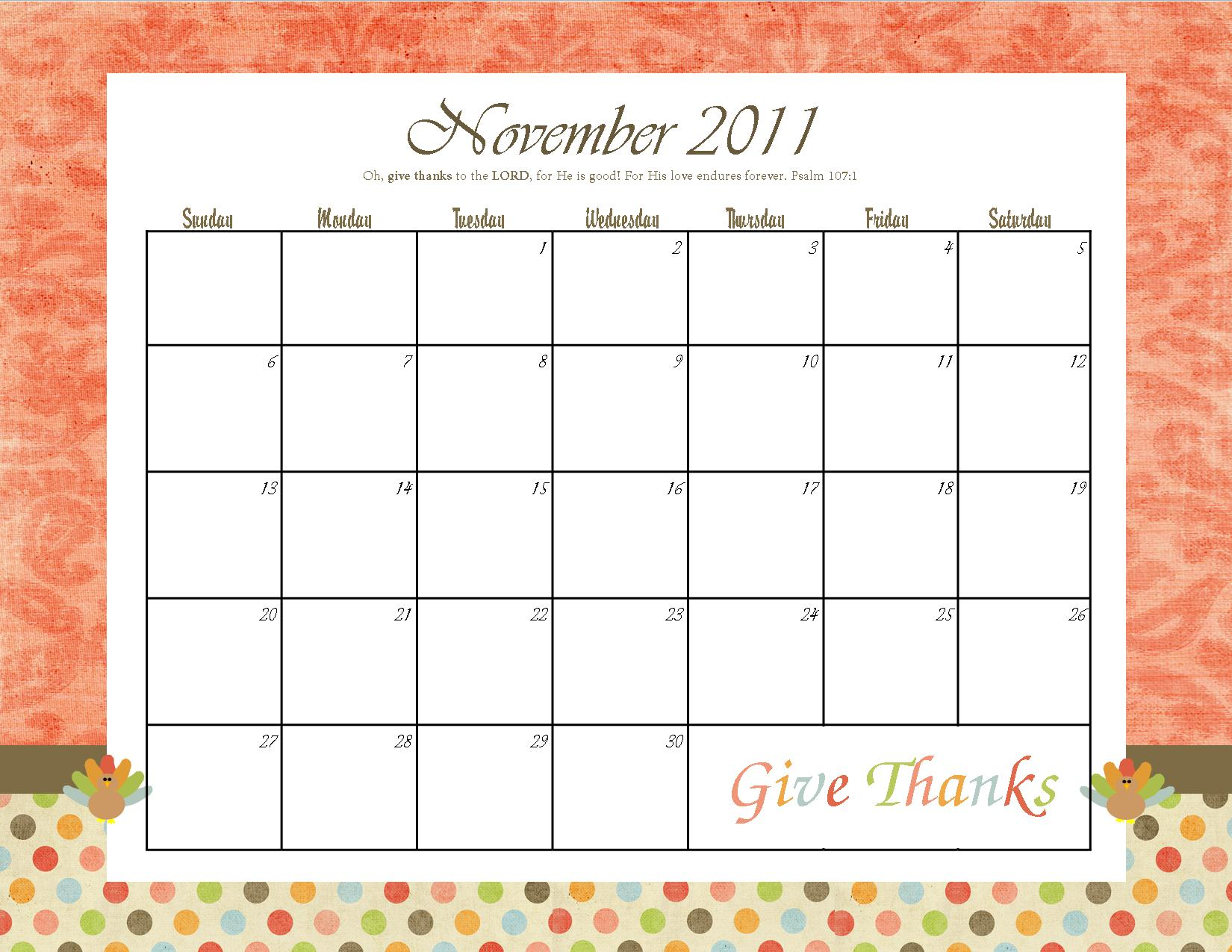 The Blogging Pastors Wife: Printable November Calendar